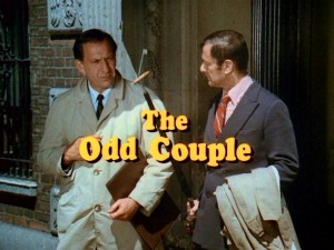 "Felix (Tony Randall) teaches Oscar (Jack Klugman) about the concept of littering in the famous ""Odd Couple"" opening credits."
