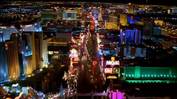 "The highly lit city at the focus of ""Vegas: An Opulent Illusion."""