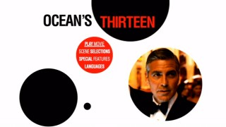 A bowtied Danny Ocean is among the circular sights encountered on the sleek animated Ocean's Thirteen DVD main menu.