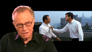 Fan of the film and friend of its makers, Larry King discusses The Odd Couple while Felix and Oscar argue on their roof.