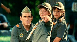 Zach (Conner Rayburn) and Emily (Ella Bleu Travolta) point to their two new dads, giving serious Troop Master Barry (Matt Dillon) the wrong idea.