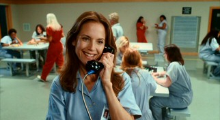 Vicki (Kelly Preston) checks in on the kids, making a phone call from the homiest women's correctional facility committed to film.