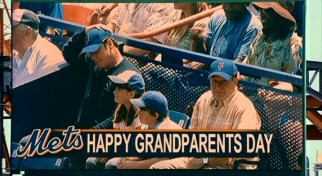 Oh dear! The Shea Stadium JumboTron mistakenly identifies Charlie and Dan as grandparents. Those old dogs!