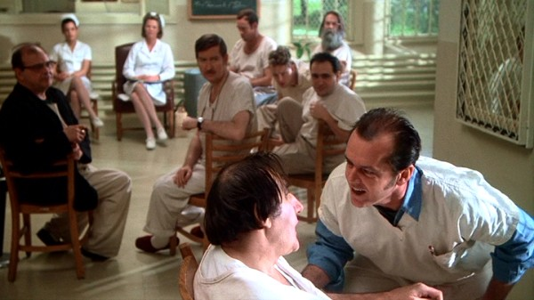 R.P. McMurphy (Jack Nicholson), the asylum's newest and most sane arrival, tries to get Bancini (Josip Elic) and other chronic patients to vote in favor of a ward World Series viewing.
