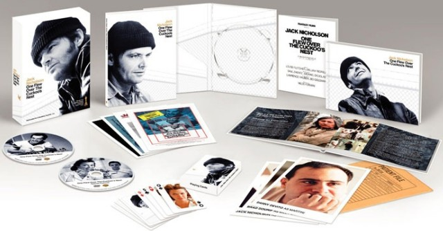 "This studio artwork provides a look at the many contents of the ""One Flew Over the Cuckoo's Nest"" Ultimate Collector's Edition DVD, including playing cards, a book, poster and press book reproductions, cast photos, and the main attraction, the two DVD discs."