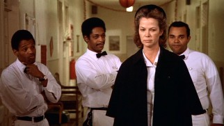 Nurse Ratched (Louise Fletcher) shows her angry face in the messy aftermath of a wild, unauthorized ward party.