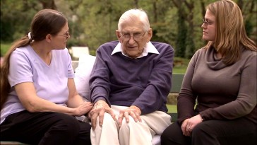 "Now 94, Dean R. Brooks, Dr. Spivey in the film and superintendent of the institution used (the Oregon State Hospital), appears with his daughter and granddaughter to discuss his calling in the new documentary ""Asylum: An Empty Nest for the Mentally Ill?"""