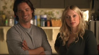 "Ray, a.k.a. ""Big Cat"" (Warren Christie), and Hannah (Laura Prepon) react differently to Sam's imposing questions about their engagement."
