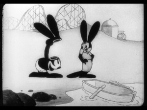 "The gag from ""Karnival Kid"" that you thought was original and the sole inspiration for the infamous Mickey ears was recycled from the romantic Oswald short ""All Wet"", released two years earlier."