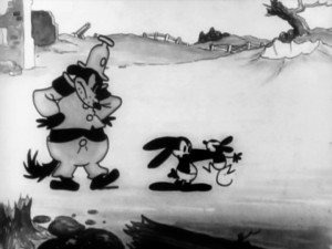 "Oswald is caught in the act of mouse abuse by a much larger animal in the war short ""Great Guns!"""