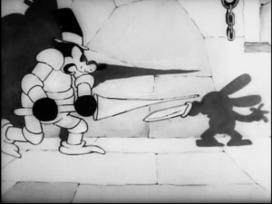 "Not up for fighting this armored adversary, Oswald lets his shadow do the sword work in ""Oh What a Knight."""