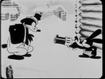 As a member of the (Royal Canadian?) Mounted Police, Oswald pulls a big gun on wanted criminal Pegleg Pete.