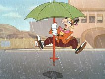 "Goofy rides a pogo stick equipped with an umbrella in ""Victory Vehicles"""