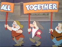 "The dwarfs parade in ""All Together"" short"
