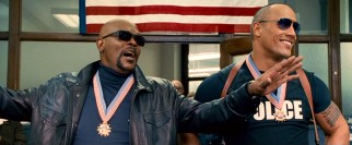 Samuel L. Jackson and Dwayne Johnson open the film as the precinct's idolized, egotistical heroes Highsmith and Danson.