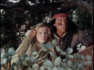 "This ""Injun"" of the Tribe Bronzedwhiteguy holds Lisbeth (Marta Kristen) captive. Take another look -- it's not really Hayley Mills."