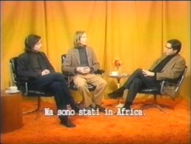 "Writers Noah Baumbach and Wes Anderson chat with Antonio Monda on the mock Italian film talk show ""Mondo Monda."""