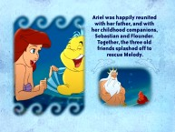 Ariel's reunion with Flounder and Triton forms the basis of one of 38 pages in The Little Mermaid II DVD Storybook read by Jodi Benson.