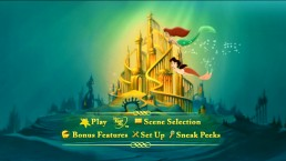Ariel and Melody swim together by Atlantica in part of the animated main menu.