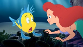 Utter surprise is the tone of Ariel's first meeting of Flounder, here a rhythmic renegade.