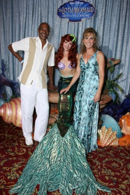 Samuel E. Wright, Ariel, and Jodi Benson unite inside the nautically-dressed theatre.