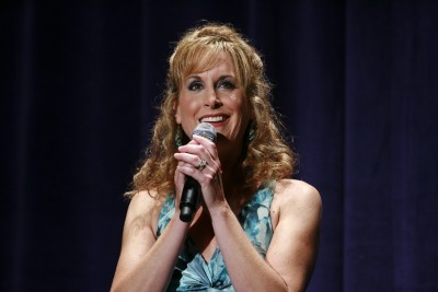 Jodi Benson sings for the audience at the premiere screening.