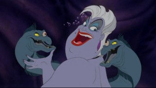 Like any good villain, the sea witch Ursula, seen here with her henchmen eels Flotsam and Jetsam, has an evil scheme.