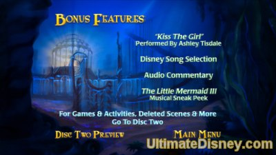 The Little Mermaid: Platinum Edition - Disc 1's Bonus Features Menu