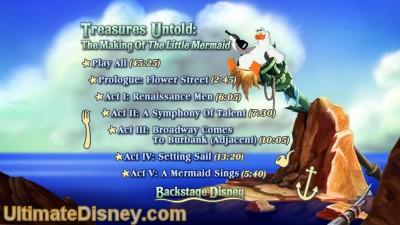 "Menu for Disc 2's documentary ""Treasures Untold: The Making of 'The Little Mermaid'."""