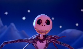 Jack Skellington's eyes light up at his discovery of Christmas Town. At least they would if he had eyes.