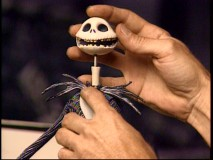 "One of the many available Jack Skellington heads gets popped on in ""The Making of Tim Burton's The Nightmare Before Christmas."""