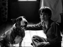 "Victor (Barret Oliver) sits calmly next to his resurrected dog Sparky in Tim Burton's half-hour short ""Frankenweenie."""