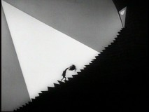 "A depressed Vincent Malloy ascends a ginormous staircase in the Vincent Price-narrated ""Vincent."""