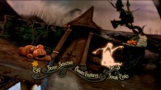 An assortment of Halloween Town locales are placed close to one another in the twirly tour of Disc 1's main menu.