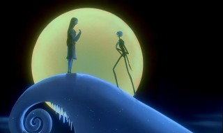 "The iconic moon and mountain of ""The Nightmare Before Christmas"" is the site of Sally and Jack connecting, in song of course."