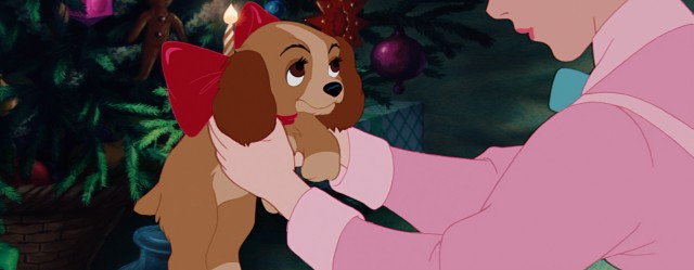 """Lady and the Tramp"" opens with Lady as a puppy, given as a Christmas gift from Jim Dear to Darling."