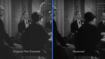 This is the most extreme example of how the restoration cleaned up the film from its degraded state.