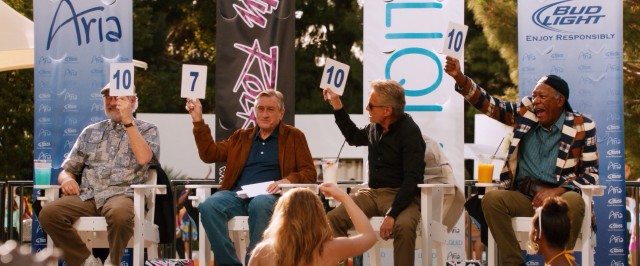 "Lifelong friends (Kevin Kline, Robert De Niro, Michael Douglas, and Morgan Freeman) whoop it up as bikini contest judges in ""Last Vegas."""
