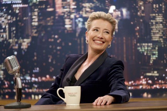 """Late Night"" stars Emma Thompson as talk show host Katherine Newbury, who finds her job in jeopardy after twenty-eight seasons on the air."