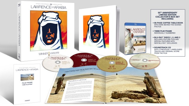 The Lawrence of Arabia: Limited Edition Collector's Box Set includes three Blu-rays, a soundtrack CD, a film frame, and a coffee table book.