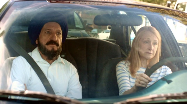 "In ""Learning to Drive"", freshly-divorced middle-aged book critic Wendy Shields (Patricia Clarkson) learns to drive from an Indian Sikh emigre (Ben Kingsley)."