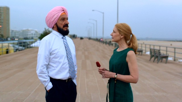 "Wendy Shields (Patricia Clarkson) and Darwin Singh Tur (Ben Kingsley) take a walk on a boardwalk in Queens in ""Learning to Drive."""