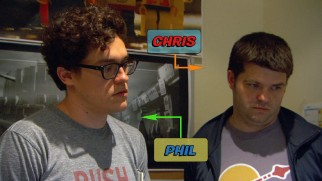 "Captions identify writer-directors Phil Lord and Christopher Miller in ""Bringing Lego to Life."""