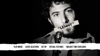 The Lenny Blu-ray menu, like the cover art, tries to censor Lenny Bruce.
