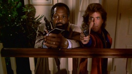 "Partnered police detectives Roger Murtaugh (Danny Glover) and Martin Riggs (Mel Gibson) try to stop a madman on the loose in ""Lethal Weapon."""