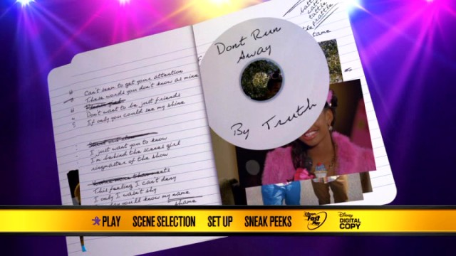 Truth's notebook lyrics and contest submission CD become covered by stills and clips on the Let It Shine DVD's main menu.