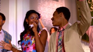All's well that ends well as Roxanne (Coco Jones) and Cyrus (Tyler James Williams) let it shine in the film's closing church musical number.