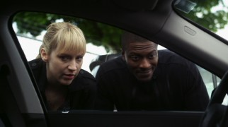 "Parker the thief (Beth Riesgraf) and Hardison the hacker (Aldis Hodge) combine forces to break into an ultra-high-tech car in ""The Boost Job."""