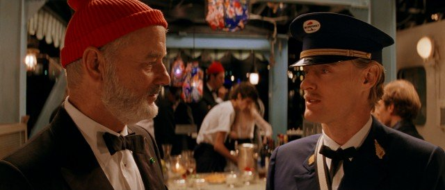 "Oceanographer/documentarian Steve Zissou (Bill Murray) meets Ned Plimpton (Owen Wilson), a young man who may be his son in ""The Life Aquatic with Steve Zissou."""