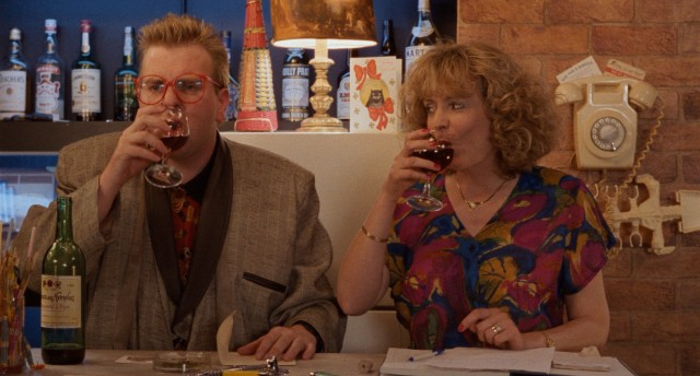 Aubrey (Timothy Spall) and his reluctant waitress Wendy (Alison Steadman) calm their nerves with wine on an Opening Night with no diners.